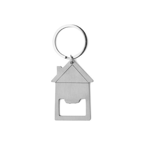 House shaped bottle opener keyring