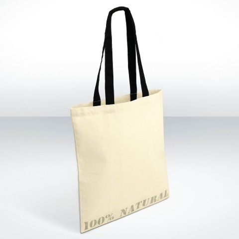 Natural pre printed cotton shopper