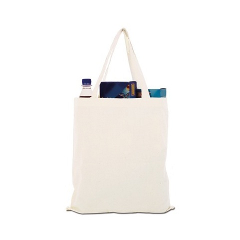 Short handled cotton shopping bags