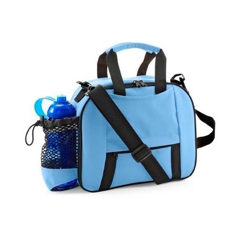 Cooler bag with bottle holder.