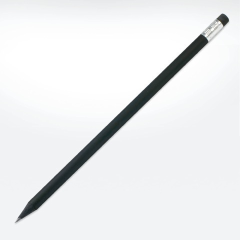 Black wooden eco pencil with eraser