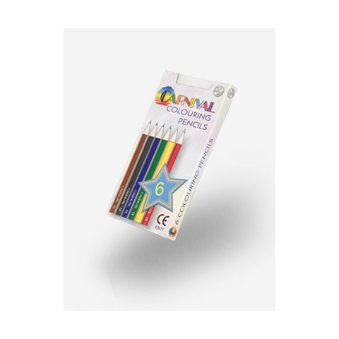 Half size carnival colouring pencils - 6 pack