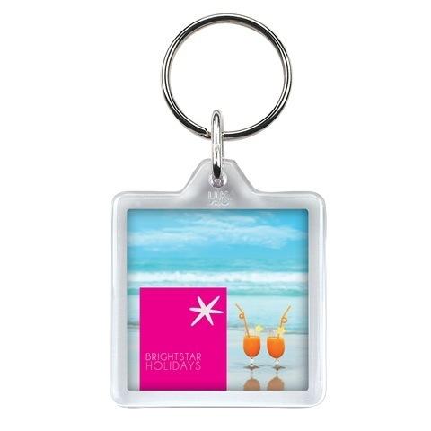 U1 square plastic keyring