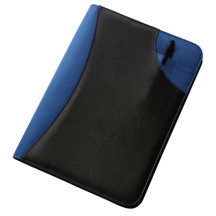 2214 Two tone zipped conference folder