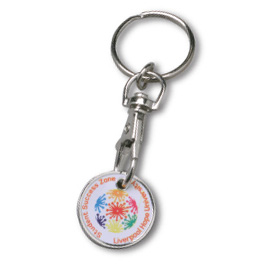 Printed enamel trolley coin keyrings