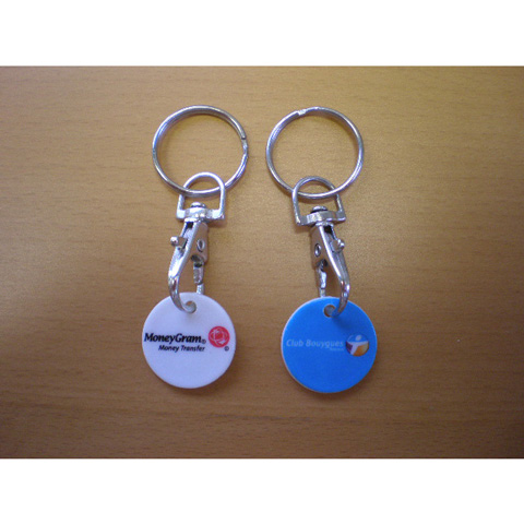 Plastic trolley coin keyring